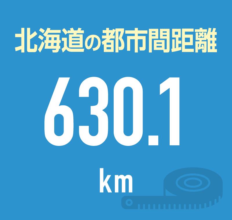 北海道の都市間距離 630.1km